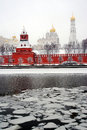 Moscow Kremlin and Moscow river embankment Royalty Free Stock Photo