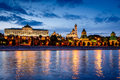 Moscow kremlin and moscow river illuminated in the evening russia Royalty Free Stock Photos