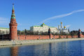 Moscow kremlin and moskva river embankment the s wall with towers russia Stock Image