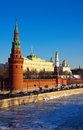 Moscow Kremlin  and   Moskva River in winter Royalty Free Stock Photography