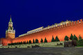 Moscow kremlin at night red square and spasskaya tower of russia Royalty Free Stock Photos
