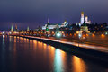 Moscow kremlin night touristic spot in the center landmark view to the with wall and towers moskva river embankment by a winter at Royalty Free Stock Image