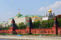 Moscow Kremlin panorama. The Big Palace and old orthodox churches. Royalty Free Stock Photo