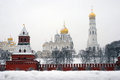Moscow Kremlin panorama in winter Royalty Free Stock Photo
