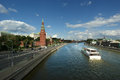 Moscow kremlin russia unesco world heritage site shot from the big stone bridge Royalty Free Stock Photos