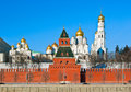 Moscow kremlin secret tower against cathedrals of russia Royalty Free Stock Photos