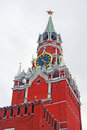 Moscow kremlin spasskaya tower clock red square unesco world heritage site Stock Images