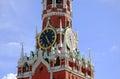 Moscow kremlin spasskaya tower clock red square unesco world heritage site Stock Photos