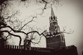 Moscow kremlin spasskaya tower clock red square unesco world heritage site vintage style sepia photo Stock Image