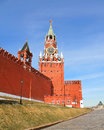 Moscow kremlin spasskaya tower with a red star on a top of it and with a clock Stock Photo