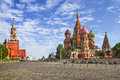 Moscow Kremlin and St. Basil Cathedral on Red Square Royalty Free Stock Photo
