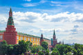 Moscow Kremlin towers and Alexander Garden, aerial panorama Royalty Free Stock Photo