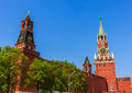 Moscow kremlin view of the spasskaya tower on red square in russia Royalty Free Stock Images