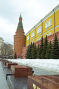 The moscow kremlin walls and towers of ancient Royalty Free Stock Image