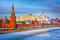 Moscow kremlin in winter river and on the sunset Stock Image