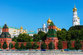 Moscow kremlin x kremlin embankment kremlin wall towers and kremlin cathedrals x june at sunrise on jube in in Royalty Free Stock Images