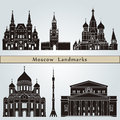 Moscow landmarks and monuments isolated on blue background in editable vector file Royalty Free Stock Photography