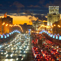 Moscow lights image of a rush hour in Royalty Free Stock Photo