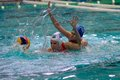 Moscow march unidentified players in action semifinal len trophy at a water polo game between skif csp izmailovoï   moscow vs Royalty Free Stock Photo