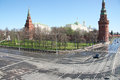 Moscow in may russia a special patrol car drove into the intersection near kremlin wall preparation for rehearsal of victory over Stock Photography