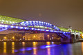 Moscow at night andreevsky bridge early morning in view on the Royalty Free Stock Photos