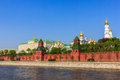 ensemble of the Moscow Kremlin and Moskva river Royalty Free Stock Photo