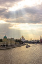 Moscow river lights the view of in daylight Royalty Free Stock Images