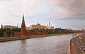 The moscow river view on kremlin towers and walls across Royalty Free Stock Images