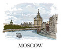 MOSCOW, RUSSIA: Moscow river, view of one of Stalin's skyscrapers with a Big Moscow River bridge. Hand created sketch. Royalty Free Stock Photo