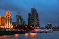 Moscow, Russia. Aerial view of hotels with river and skyscrapers Royalty Free Stock Photo