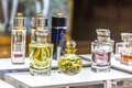 MOSCOW, RUSSIA - April 11, 2012 - Parfume corner in large shopping center Royalty Free Stock Photo