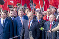 Moscow russia april the party leader kommunistov of russia gennady zyuganov on meeting in honor day to astronautics at red Stock Photo