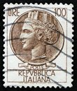 Italian stamp shows ancient coin of Syracuse, the series Syracusean Coin, circa 1968 Royalty Free Stock Photo