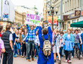 Moscow russia april youth having fun old arbat very popular tourist pedestrian street heart moscow placard reads best shoes tagil Stock Image
