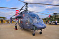 Moscow russia aug utility helicopter ka hoodlum pre presented at the th maks international aviation and space show on august in Royalty Free Stock Image