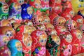 stock image of  Moscow, Russia - August 06, 2018: National Russian souvenir Matryoshka doll in various paints closeup