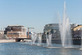 Moscow, Russia - 09.21.2015. Fountains on Moscow river drainage channels Royalty Free Stock Photo