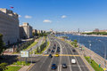 Moscow russia july the panorama of moscow view on frunze embankment from st andrew s bridge embankment is located Royalty Free Stock Photo