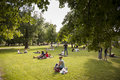 Moscow russia june group of young people relaxing having a p picnic alexander garden is the most famous public park in the center Stock Image