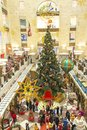 04-01-2017, Moscow, Russia. The largest children`s store in Moscow Children`s World. Christmas tree in the toy store, a lot of