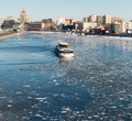Moscow russia march cityscape of the moscow river with floating boat on march ship float trough ice in spring season on the moscow Royalty Free Stock Image