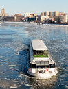 Moscow russia march cityscape of the moscow river with floating boat on march ship float trough ice in spring season on the moscow Stock Photo