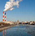 Moscow russia march cityscape of the moscow river with stack of coal power plant on march coal power is one of the largest sources Stock Photos