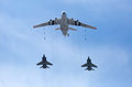 Moscow russia may russian air force il air to air refueling tanker demonstrates in flight refueling of mikoyan mig strategic Stock Photos