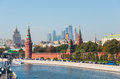 Moscow russia the moscow kremlin and international business center moscow city Royalty Free Stock Photography