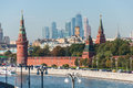 Moscow russia the moscow kremlin and international business center moscow city Royalty Free Stock Photo