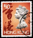 Postage stamp printed in Hong Kong shows Queen Elisabeth II, 1992-1996 serie, circa 1993 Royalty Free Stock Photo
