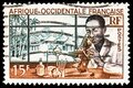 Postage stamp printed in French West Africa shows Laboratoire medical - medical Laboratory, Local people serie, circa 1953 Royalty Free Stock Photo