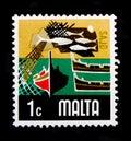 Fishing Industry, Aspects of Malta serie, circa 1973 Royalty Free Stock Photo
