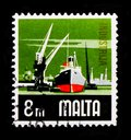 Industry, Ship and crane, Aspects of Malta serie, circa 1973 Royalty Free Stock Photo